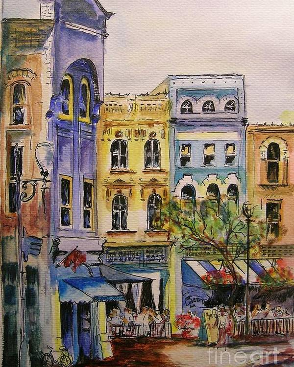 Townhouses Poster featuring the painting Asheville by Lizzy Forrester