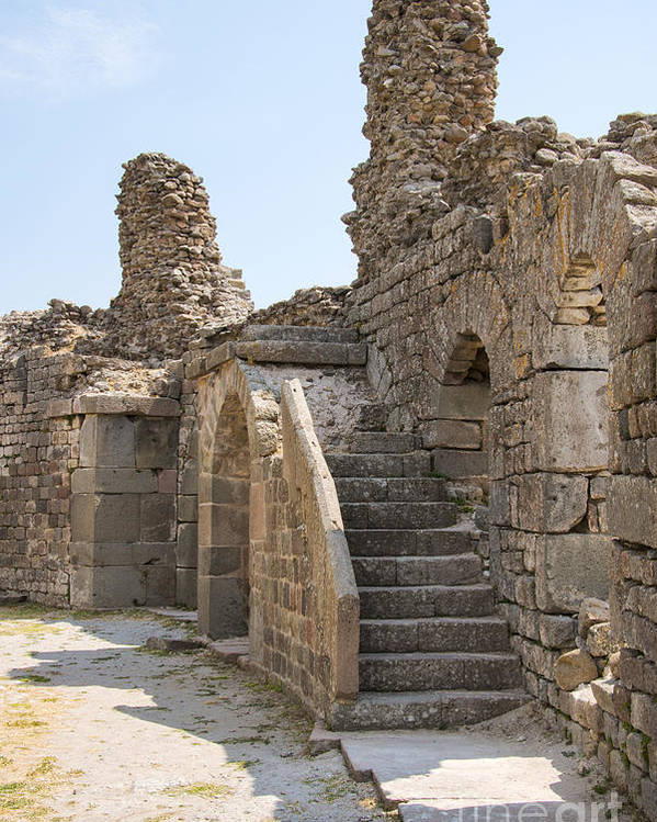 Bergama Pergamon Turkey Asklepion Ancient Asklepios Temple Ruins Temples Ruin Stone Stones Architecture Structures Structures Landmark Landmarks Place Of Worship Places Of Worship Poster featuring the photograph Asklepios Temple Ruins View 2 by Bob Phillips