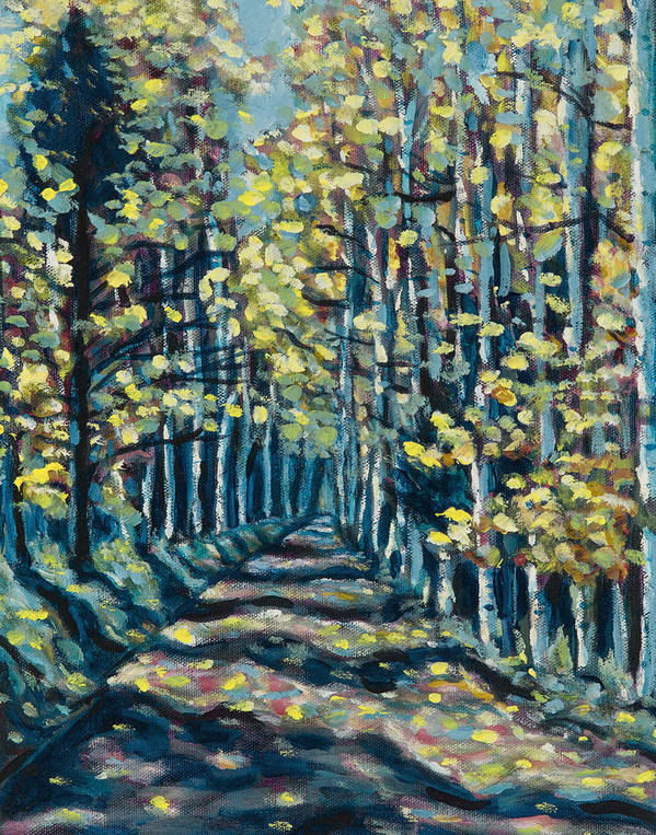 Landscape Poster featuring the painting Aspen Path by Steve Lawton
