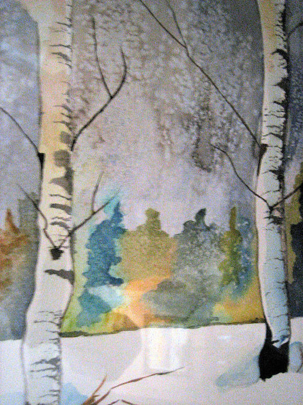 Aspens Poster featuring the painting Aspens In Snow by Holly Schussler