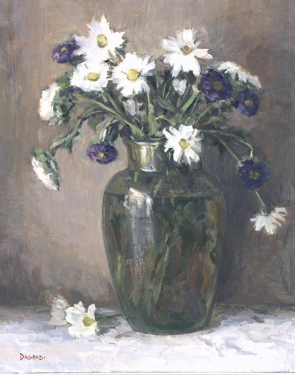 Floral Still Life Poster featuring the painting Asters And Daisies by Joan DaGradi
