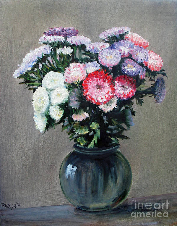 Flowers Poster featuring the painting Asters by Paul Walsh