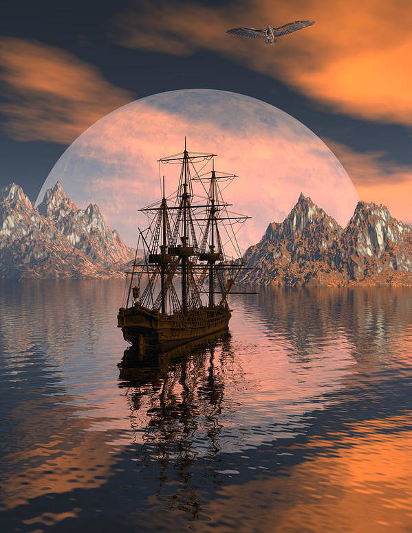 Bryce 3d Digital Fantasy Scifi Windjammer Sailing Poster featuring the digital art At Anchor by Claude McCoy