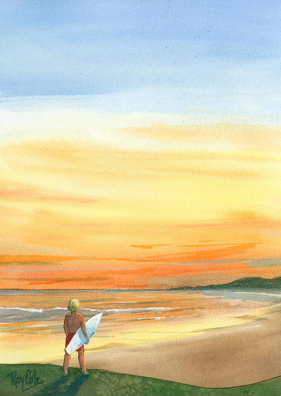 Carpinteria Sunset Poster featuring the painting At Sunset by Ray Cole