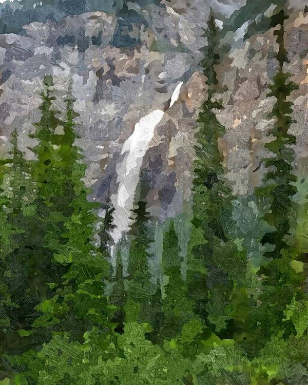 Rocky Mountains Poster featuring the digital art At The Edge Of The Falls by Don Berg
