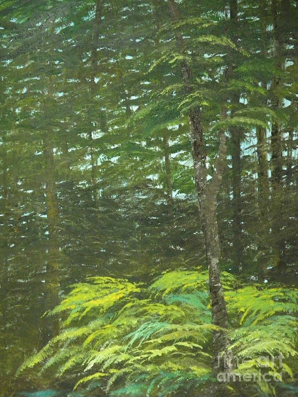 Landscape Poster featuring the painting At The Forest's Edge by Rhonda Myers