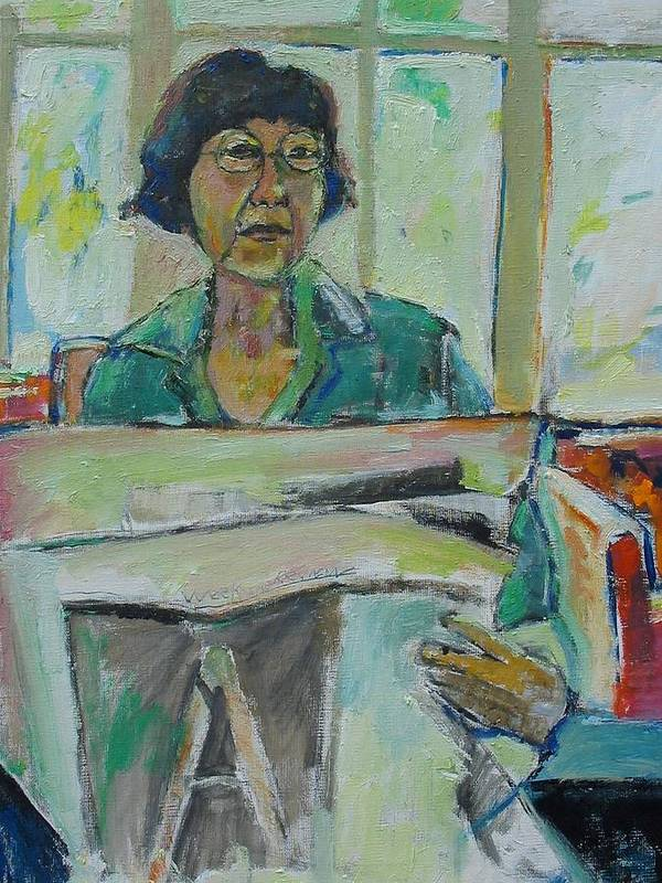 Portrait Poster featuring the mixed media At The Library by Noredin Morgan