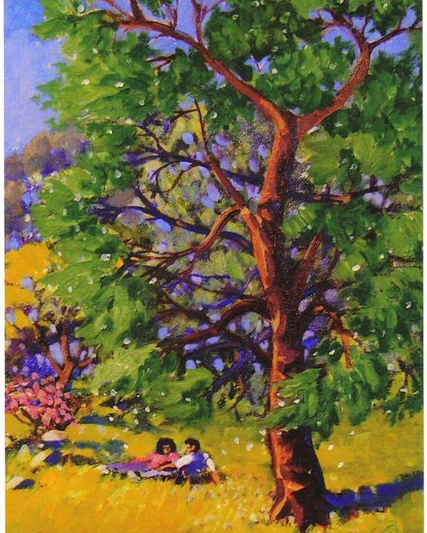 Trees Poster featuring the painting At The Park by Jonathan Carter