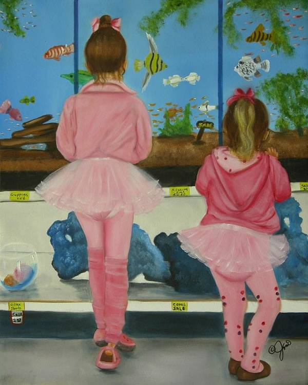 Oil Painting Poster featuring the painting At The Pet Store by Joni McPherson