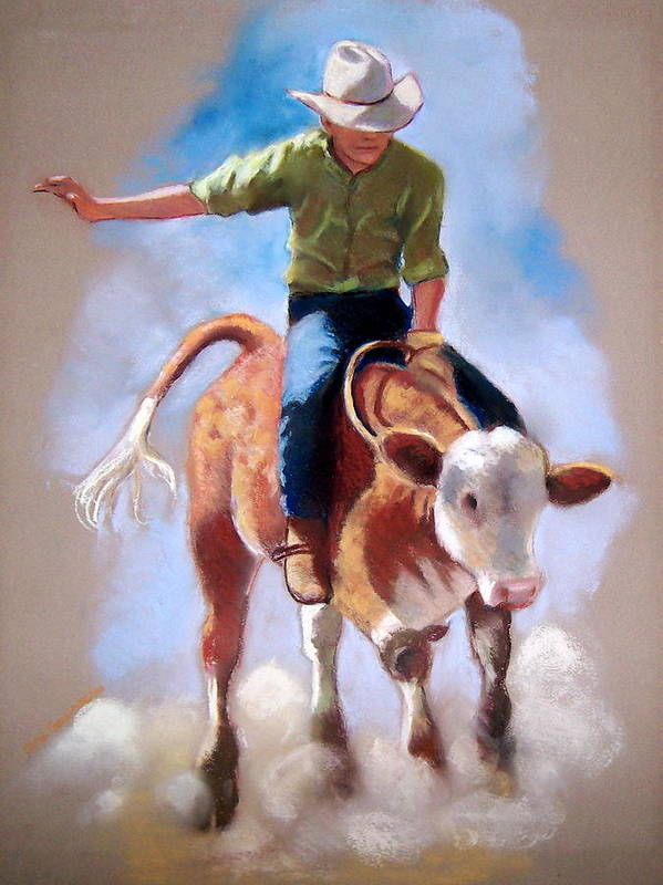 Rodeo Poster featuring the pastel At The Rodeo by Joyce Geleynse