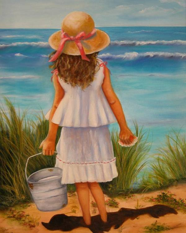 Children Poster featuring the painting At The Seashore by Joni McPherson