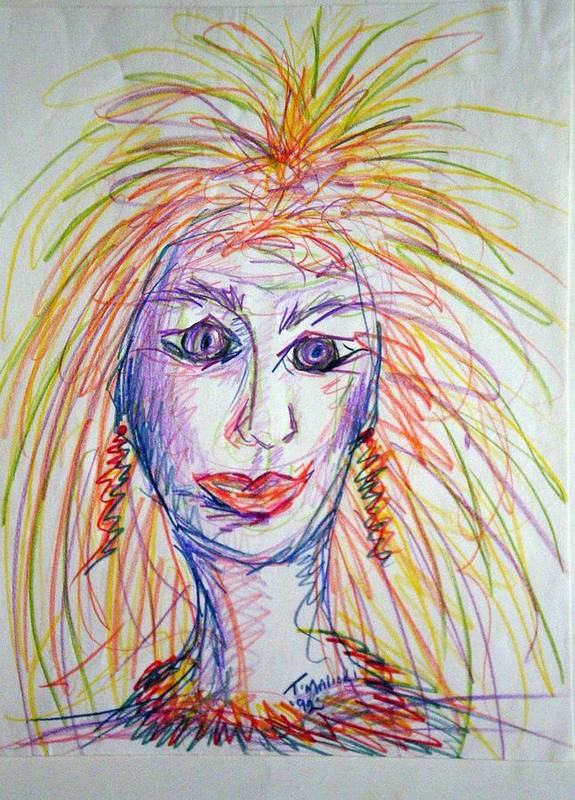 Self Portrait Poster featuring the drawing At Wits End by Tammera Malicki-Wong