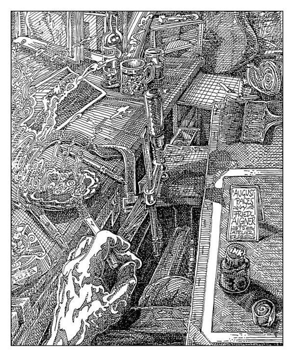 Ink On Paper Poster featuring the digital art Atelier Erdberg 95-l-10 by Friedl Aigner