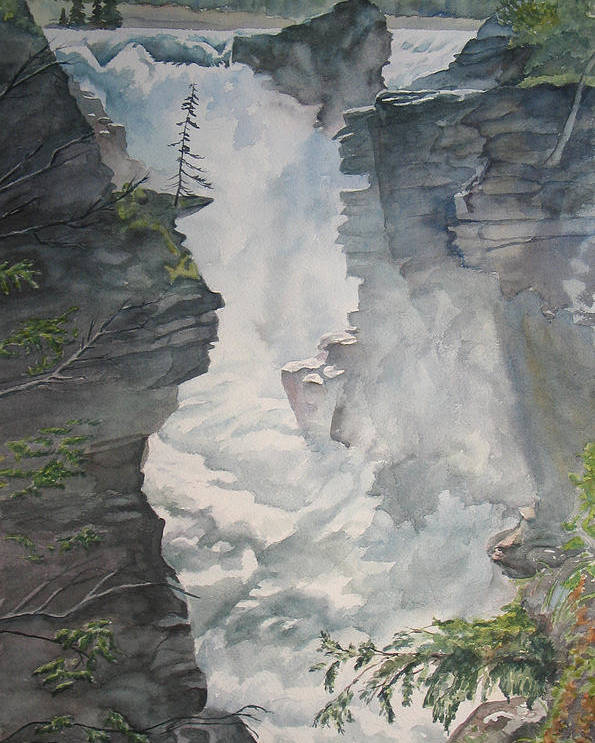 Athabasca Poster featuring the painting Athabasca Falls Alberta by Debbie Homewood
