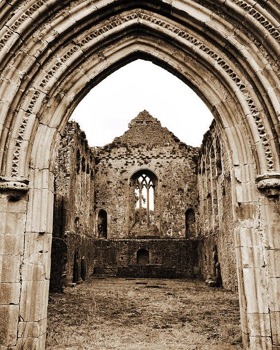 Athassel Poster featuring the photograph Athassel Priory Tipperary Ireland Medieval Ruins Decorative Arched Doorway Into Great Hall Sepia by Shawn O'Brien