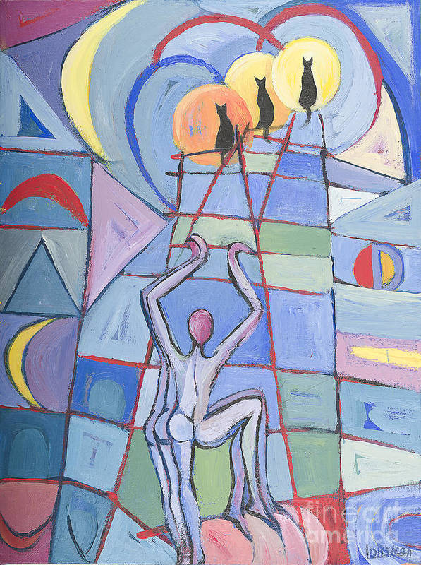 Naked Poster featuring the painting Atrapando El Sueno by Larissa Oksman