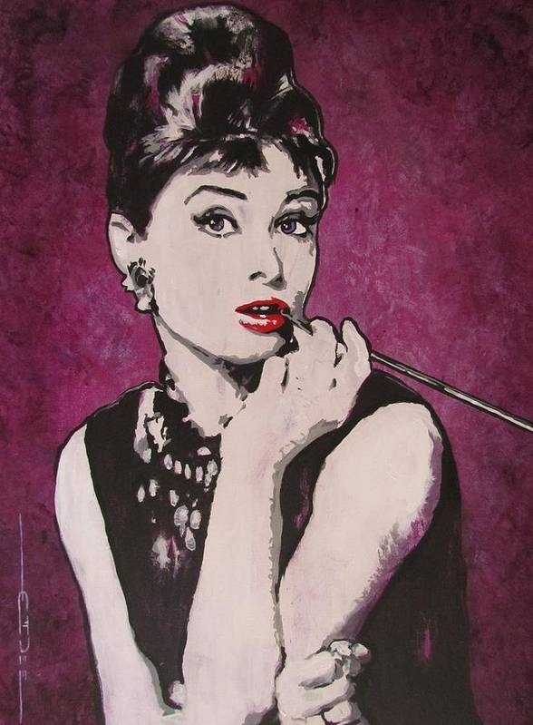 Audrey Hepburn May 4 1929 - Jan 20 1993 . Moon River. Breakfast At Tiffany's. Poster featuring the painting Audrey Hepburn - Breakfast by Eric Dee
