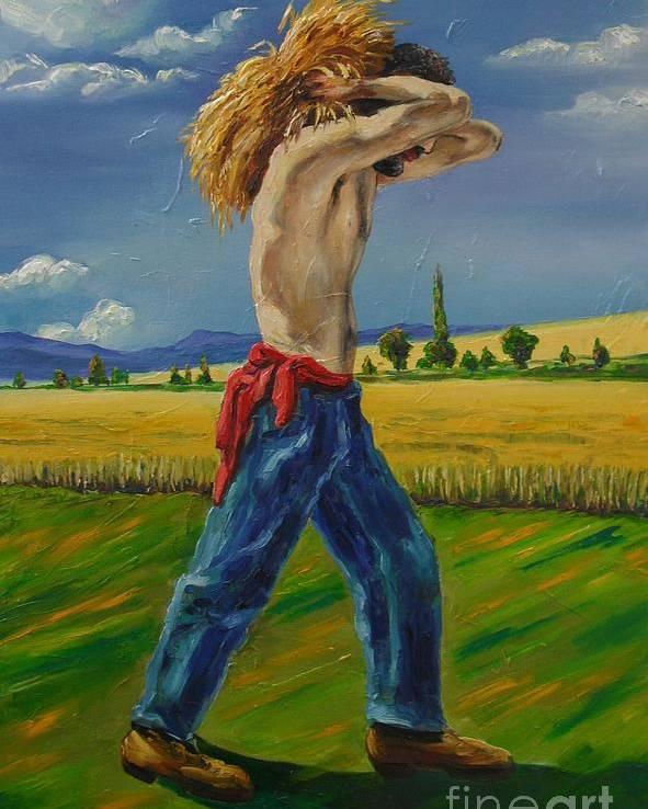 Summer Poster featuring the painting August by Ushangi Kumelashvili