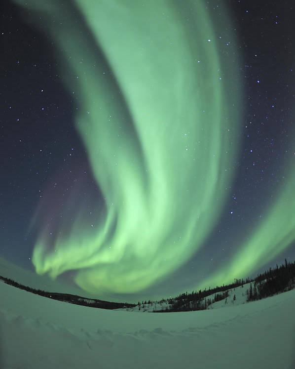 Yellowknife Poster featuring the photograph Aurora Borealis Over Prosperous Lake by Jiri Hermann
