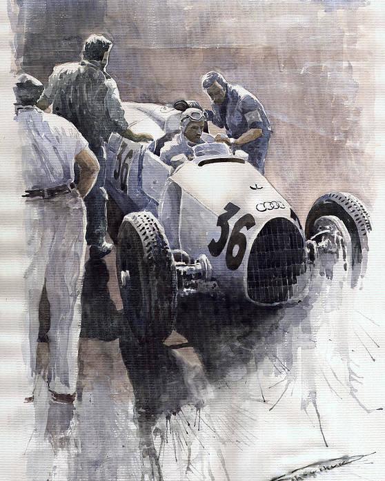 Auto Poster featuring the painting Auto Union B Type 1935 Italian Gp Monza B Rosermeyer by Yuriy Shevchuk