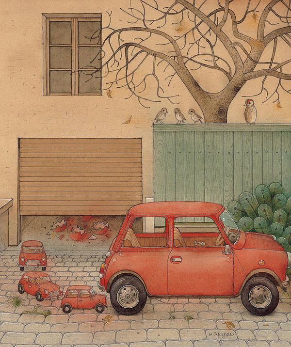 Car House Automobile Egg Red Tree Poster featuring the painting Automobile by Kestutis Kasparavicius