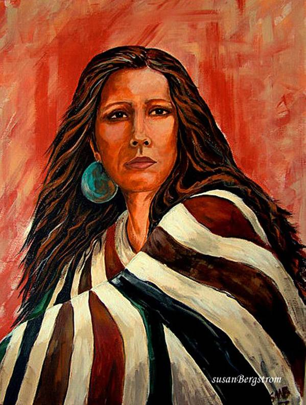 Native American Poster featuring the painting Autum Wind Wrapped In Tradition by Susan Bergstrom