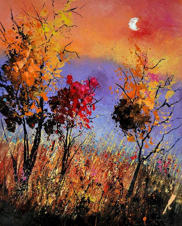 Landscape Poster featuring the painting Autumn 451110 by Pol Ledent