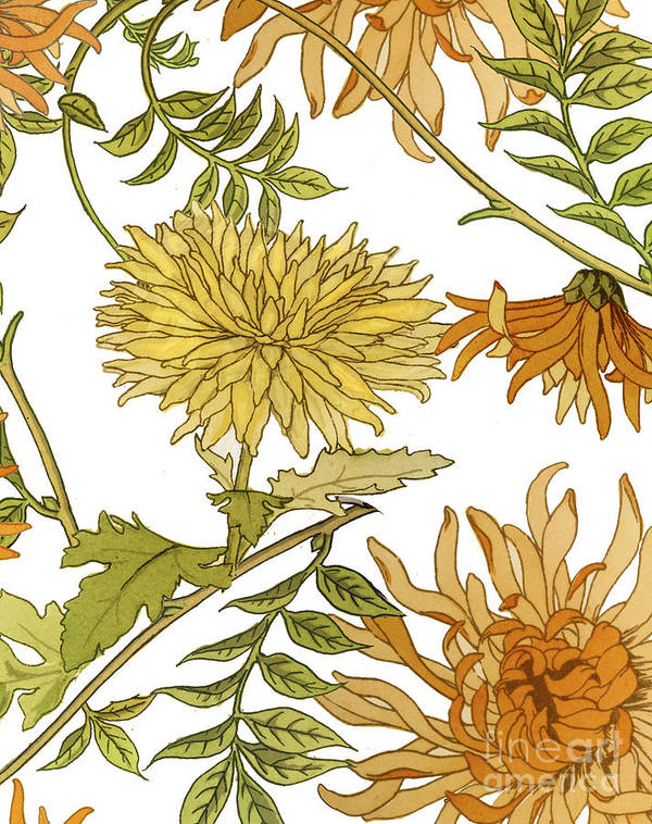 Chrysanthemum Poster featuring the painting Autumn Chrysanthemums II by Mindy Sommers