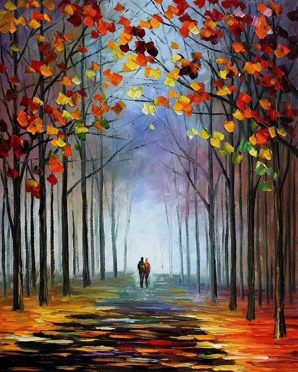 Afremov Poster featuring the painting Autumn Fog by Leonid Afremov