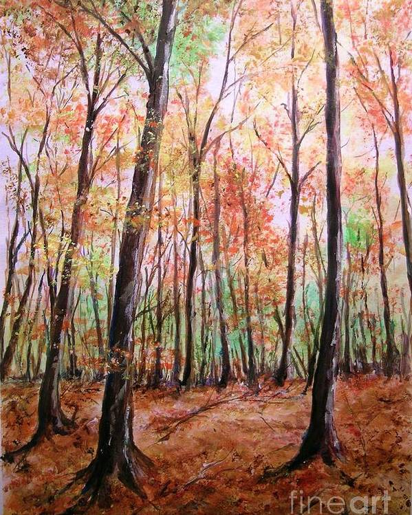 Landscape Poster featuring the painting Autumn Forrest by Lizzy Forrester