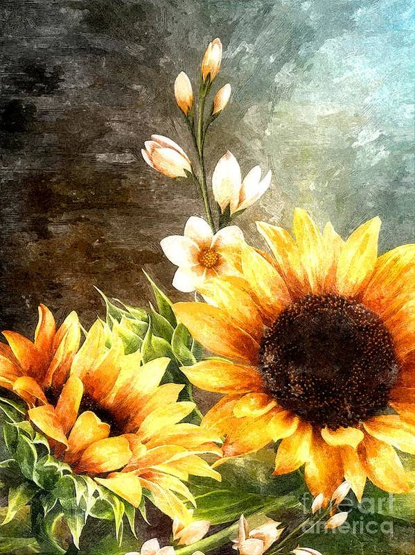 Sunflowers Poster featuring the digital art Autumn Glory by Autumn Moon