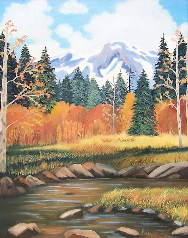 Landscape Poster featuring the painting Autumn In The Mountans by Ruth Housley