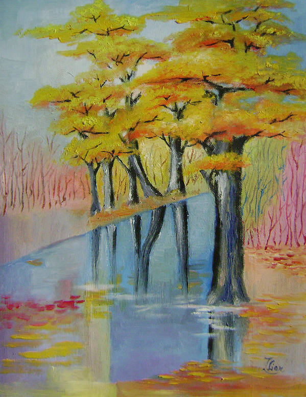 Abstract Poster featuring the painting Autumn by Lian Zhen
