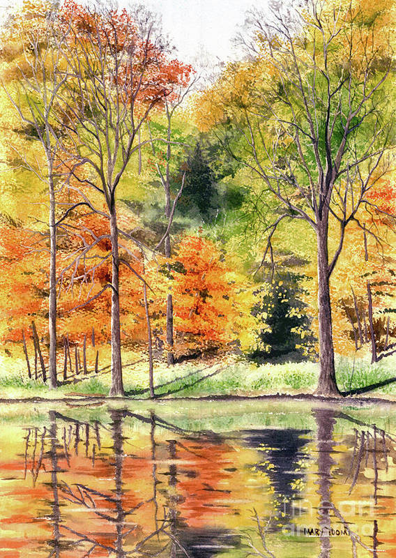 Autumn Poster featuring the painting Autumn Oranges by Mary Tuomi