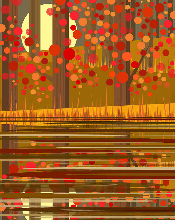 Autumn Reflections Poster featuring the digital art Autumn Reflections by Val Arie