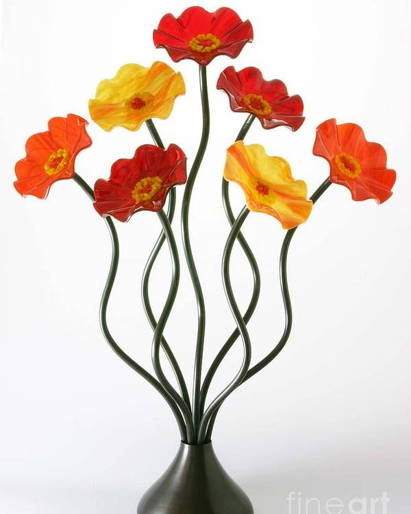 Glass Flowers Poster featuring the sculpture Autumn by Scott Johnson