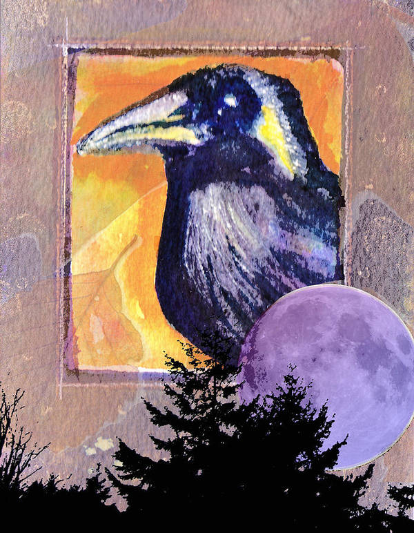 Raven Poster featuring the painting Autumn Spirit by Kerry Hartjen