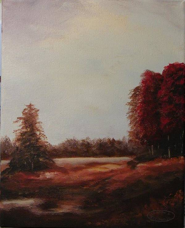Original Acrylic Landscape Poster featuring the painting Autumn Splender by Sharon Steinhaus