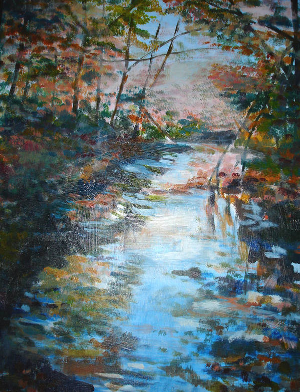 Landscape Poster featuring the painting Autumn Stream by Joyce Kanyuk