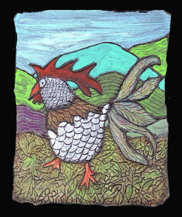 Chicken Poster featuring the painting Autumn Strut by Wayne Potrafka