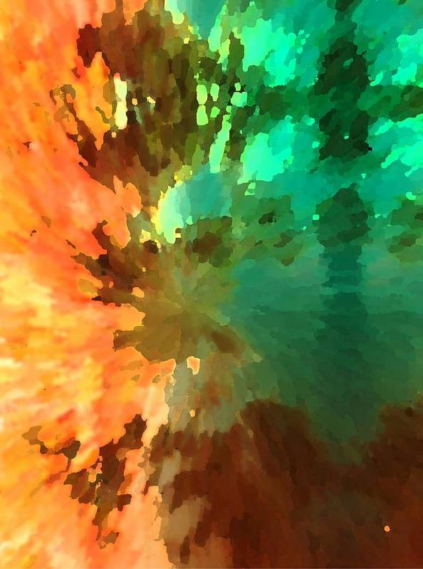 Abstract Poster featuring the painting Autumn Surprise by Florene Welebny