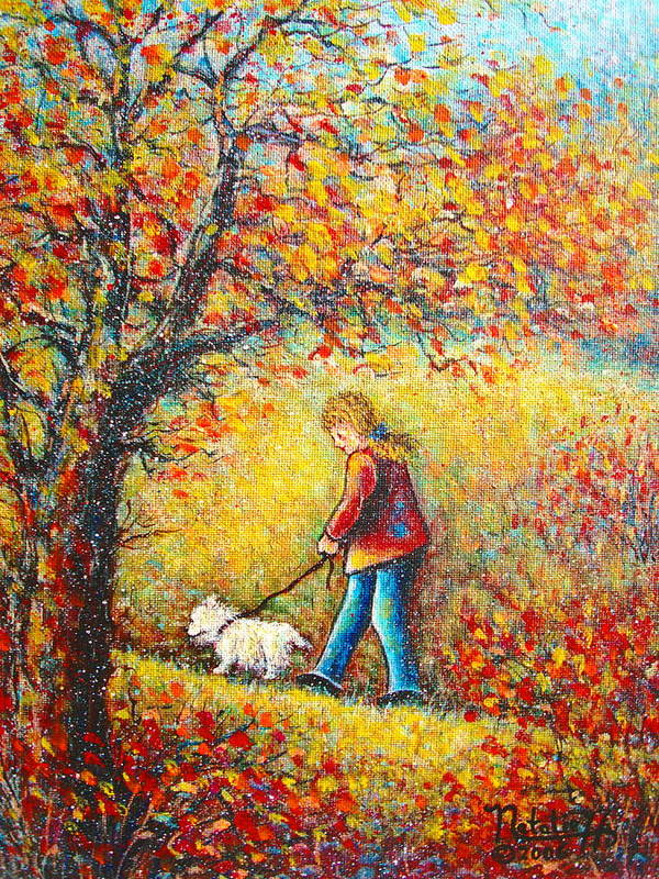 Landscape Poster featuring the painting Autumn Walk by Natalie Holland