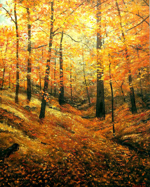 A Painting A Day Poster featuring the painting Autumns Hidden Sanctuary by Connie Tom
