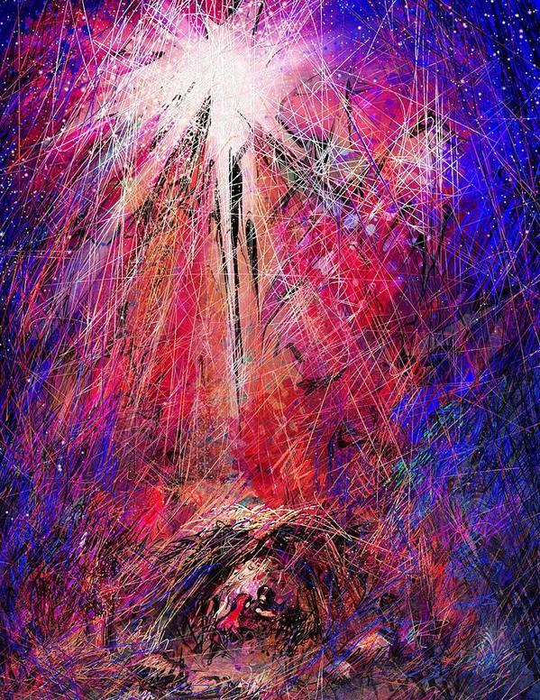 Manger Poster featuring the digital art Away In A Manger by Rachel Christine Nowicki