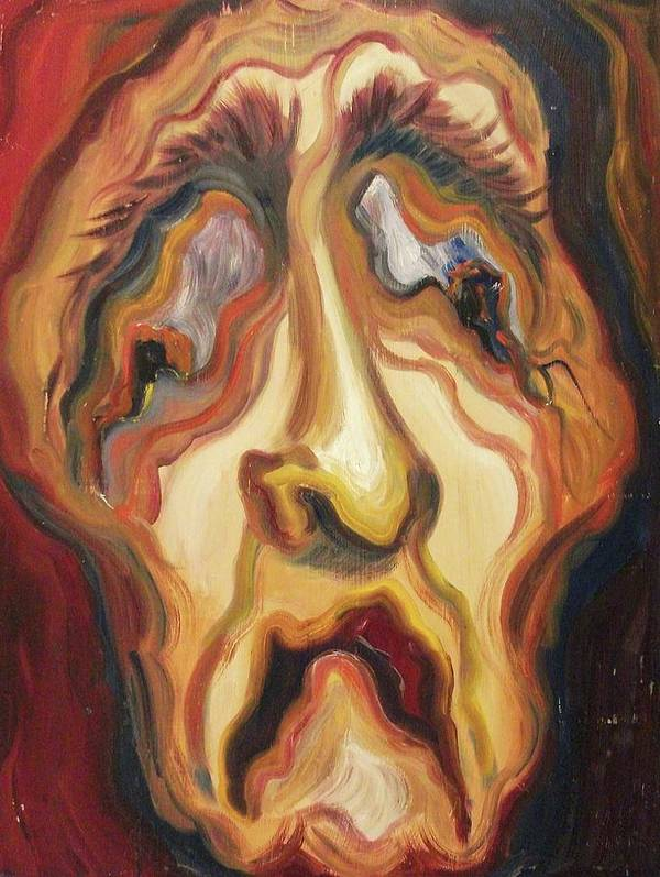 Self Portrait Poster featuring the painting Awful Life by Suzanne Marie Leclair