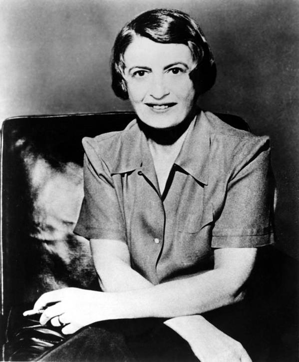 1950s Poster featuring the photograph Ayn Rand, 1957 Author Of Atlas Shrugged by Everett