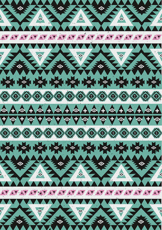 Aztec Pattern Poster featuring the tapestry - textile Aztecs by Mason Denaro