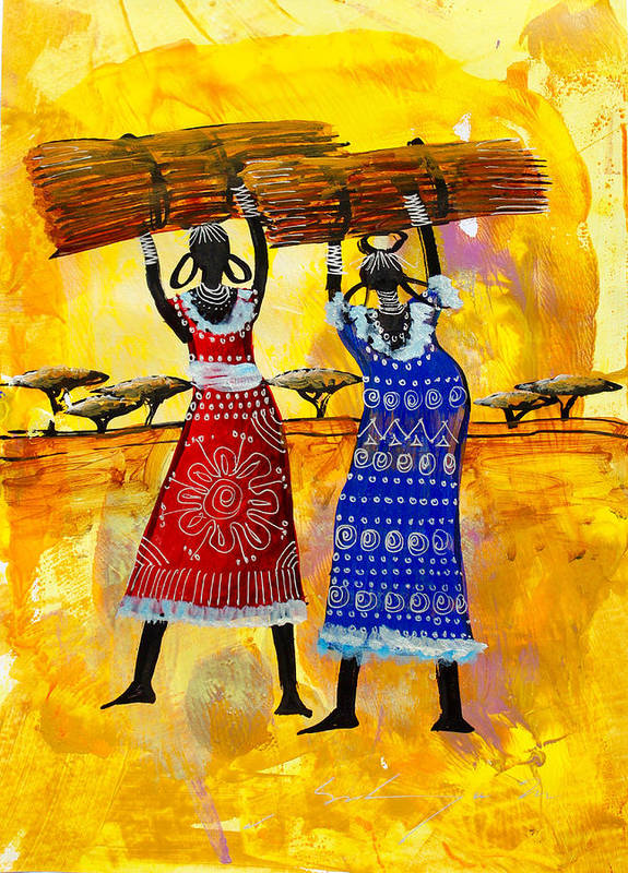 True African Art Poster featuring the painting B 351 by Martin Bulinya
