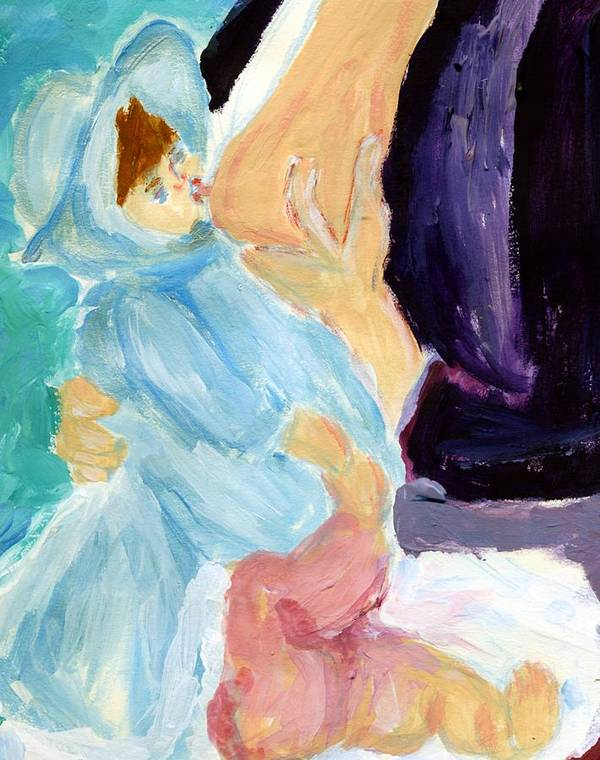 Baby Poster featuring the painting Baby Breastfeeding by Anna Angelou
