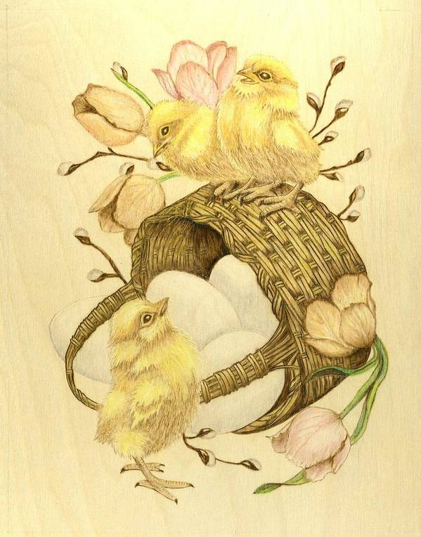 Chicks Poster featuring the pyrography Baby Chicks by Danette Smith